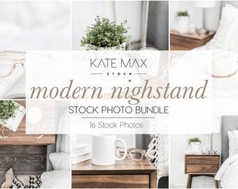 Neutral Nightstand Styled Stock Photo Bundle / Product Mockup / 16 Styled Stock images / Lifestyle Photography / KateMaxStock.com