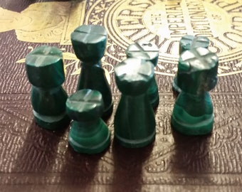 Seven Carved Malachite Vintage Chess Pieces - Rooks