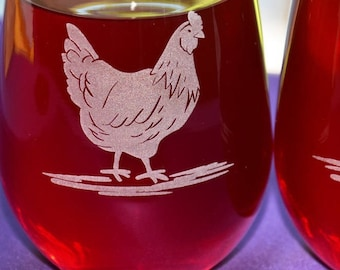 Personalized Hen or Rooster Engraved Glass for the Chicken Lovers, Custom Barnyard Wedding or Anniversary Gift