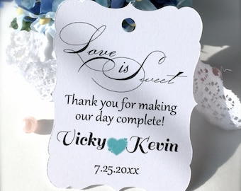 Wedding favor tags, custom thank you tags, party favor tags, anniversary party tags, love is sweet tags, treats favor tags - 30 tags(tg3)