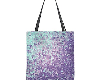 Geometric tote bag, violet and aqua, mothers day gift, mom gift, gift for mom
