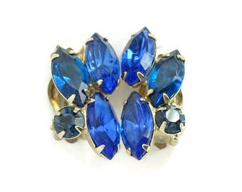 Vintage Juliana Bermuda, Montana and Teal Blue Rhinestone Clip Earrings