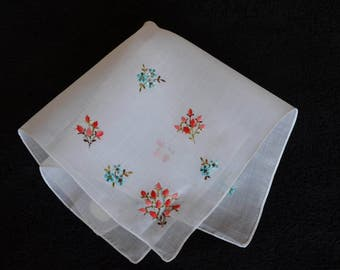 Salmon and Aqua Embroidered Flowers on White Cotton Handkerchief Made in Switzerland