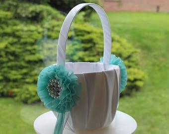 Turquoise Flower girl Basket / Flower Girl  /  Beach Turquoise Basket /Wedding Basket / Tropical Wedding / Destination Wedding