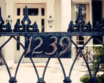 new orleans art garden district photogaphy architecture art wrought iron gate fence decor house numbers 1239