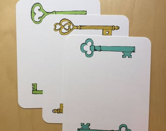 Key Stationery - set of 12 assorted key drawing designs