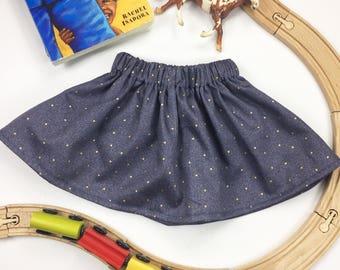 Dark Blue Girls Skirt | Tiny Gold Dots | Denim Blue
