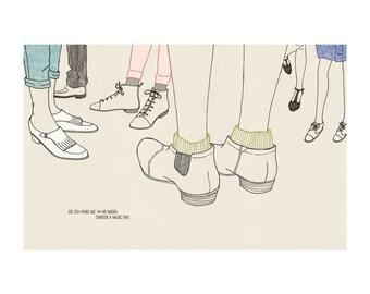 """naif """"naive"""" inspired illustration, limited edition print (crowd)"""