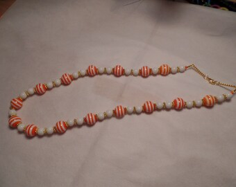 "26"" Orange and White Stripe Necklace with gold accent"