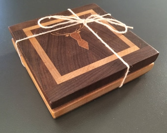Coasters made of Walnut wood black, maple, Cherry (Pack of 2)