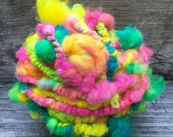 Handspun Yarn, Art Yarn, Bulky, Thick and Thin, Coil Ply, Alpaca, Wool, Spun Sugar