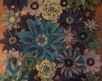 "4x5ft Paper Flower Backdrop - ""The Blues"""
