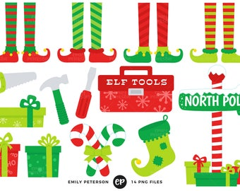 Elf Clip Art, Christmas Clipart, Elves Clip Art - Commercial Use, Instant Download