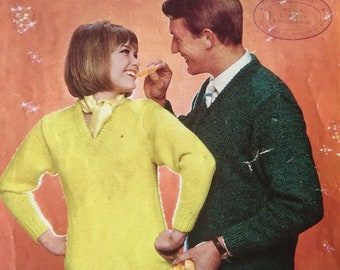 Vintage 1960s V Neck Sweater Knitting Patterns - Patons Aerial Triple Knitting 9048