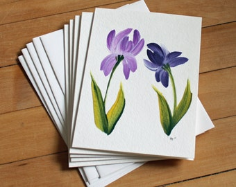 Set of 5 Iris Greeting Cards, Handpainted, Handmade, Blank Greeting Card, Note Card, Art Card, Any Occasion, Birthday Card, Girl, Flower