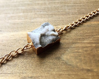 Taupe Druzy Stone Bracelet. FAST Shipping w/Tracking for US Buyers. Gift Box & Ribbon Included. You Choose Chain Length.