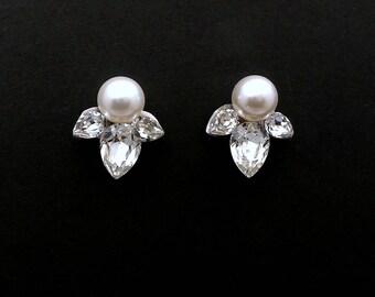 bridal wedding earrings christmas prom bridesmaid gift simple teardrop Swarovski clear crystal rhinestone stud swarovski round pearl post