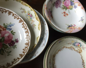 Set of 50 Vintage China Fruit Bowls for Tea Parties, Bridal Luncheons, Showers, Mismatched Tea Set, Alice in Wonderland