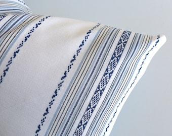 España Stripe Pillow Cover / Navy and White Spanish style pillow / Embroidered Pillow Cover / Dark Blue stripe Cushion -LKBG
