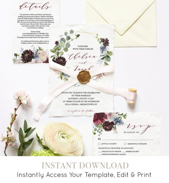 Wedding Invitation Template, Printable Wedding Suite, INSTANT DOWNLOAD, 100% Editable, Invite, RSVP & Details, Floral Burgundy / Gold #040
