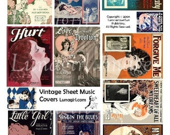 Romantic SHEET MUSIC digital collage sheet vintage images illustration flappers women couples altered art ephemera DOWNLOAD