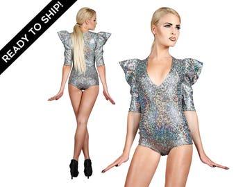 Signatur-Body in holographische Silber, futuristische Kleidung, Festival Playsuit, brennen Mann Kleidung, Sexy, Trikots, Dancewear, LENA QUIST