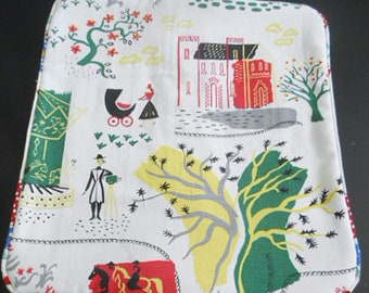 """Retro 50's FRENCH PARK Barkcloth Pillow Cover, Trees Horse Photographer Nanny, Red Yellow Green & White Nubby Print, Piping 16"""" Buy 1 or 2"""