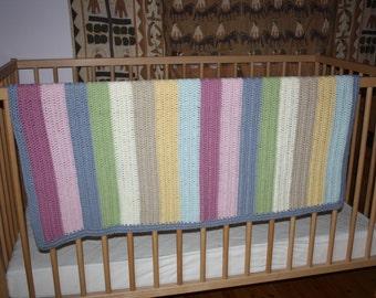 Crocheted Pastel Multicoloured Baby Blanket