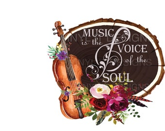 Music is the Voice of the Soul Clipart, PNG File, Sublimation, Clipart