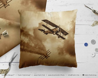 Airplane Pillow, Airplane Cushion, Throw Pillow, Pilot Gifts, Home Decor, Aircraft Pillow Case, Cover, Bedding, Nieuport Scout, Fokker Dr-1
