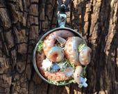 Steampunk Sculpture Necklace - OOAK - Blue Tentacles Sea Shells Skeleton Key