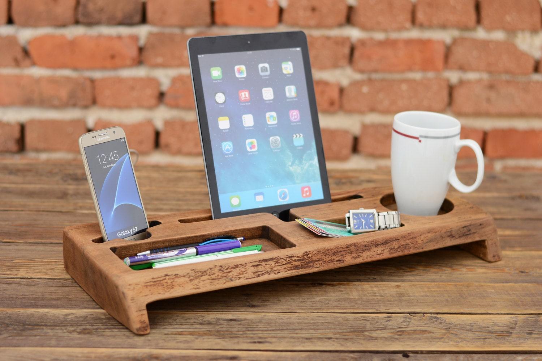 Wooden Desk Organizer Office Organizer Phone Station Solid