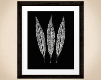 3 Bird Feathers, hand drawn nature print in black and white, wildlife art for INSTANT DOWNLOAD