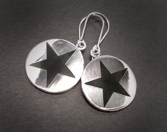 BLACK STAR SILVER Round Dangle Earrings