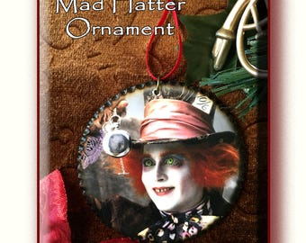 Fun MAD HATTER Ornament, Decoupage 3 inch Wooden Disc, with Wood burned edges.