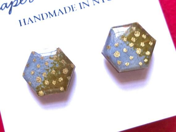 Hexagon earrings, Hexagon studs, Hexagon stud earrings, geometric earrings, geometric studs, geometric stud earrings, Japanese paper