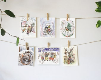 Set of six greeting cards for winter time | Merry Christmas | Collection winter Cards | Holidays | Christmas set by Mathilde Cinq-Mars