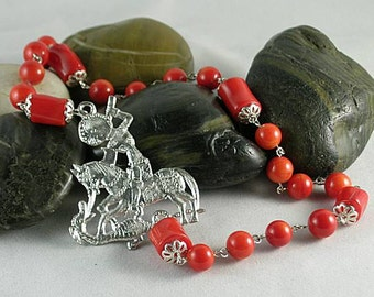 St. George Red Bamboo Coral Chaplet Paternoster Rosary
