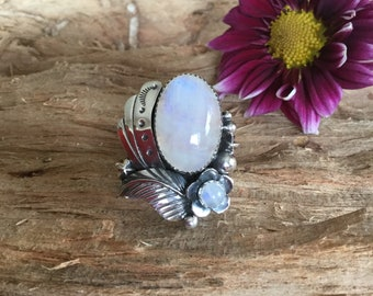 Rainbow Moonstone ring, Sterling Silver, Artisan Handmade, Southwestern, Bohochic, size 9 3/4