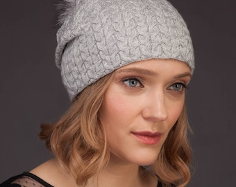 Light Gray Cashmere Women Beanie Hat With Natural Fox Fur Pom-Pom, Skiing / Sports / Outdoor Hat