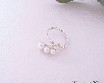 Triple Akoya Pearl open ring, Sterling silver, Free Size, open silver ring
