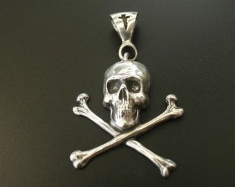 Skull and Crossbones Pendant in Sterling Silver