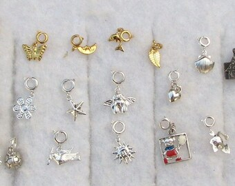 20 Different Silvertone & Goldtone Charms w/Spring Clasps