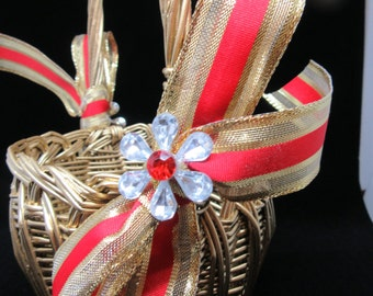 Basket Flower Girl Vintage Gold Round Wicker Toddler Red and Gold Bow Bling Flower Accent Wedding Gift Storage Home Decor Cottage Chic