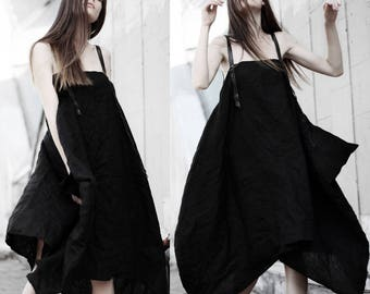 Black linen  parachute dress