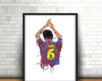 Xavi Barcelona Legend Art Print, Football Art, Mancave Decor, Boys Room Decor, Barca, Footy Art Print, Spanish International