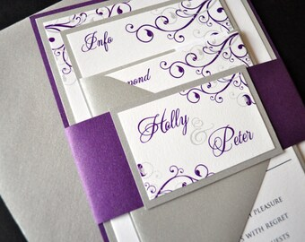 Layered Custom Wedding Invitations, Purple and Silver Invitations, Wedding Invitations, Purple Wedding