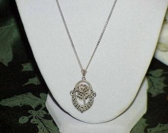 "Vintage Sterling Silver Marcasite Rose Flower Pendant 18"" Chain Necklace 50's Vintage"