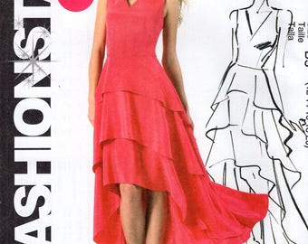 FREE US SHIP McCalls 286 6698 Fashion Star Tiered Shape Evening Gown Dress Sewing Pattern Size 12 14 16 18 20 Bust 34 36 38 40 42 Plus Uncut