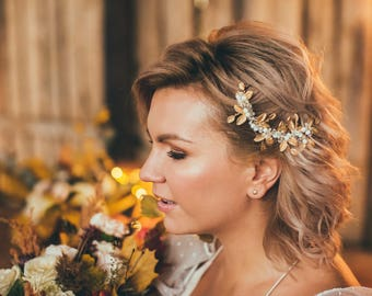 Bridal headpiece, Gold leaves hair comb, Decorative comb, wreaths & tiaras, wedding hair accessory, bridal hair comb, gold leaves hair comb